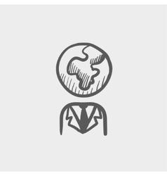 Human with globe head sketch icon vector