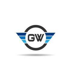 initial letter gw logo template design vector image