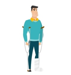 Injured businessman with broken leg vector