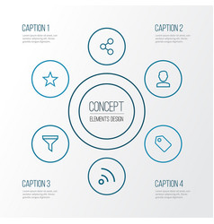 interface outline icons set collection of share vector image