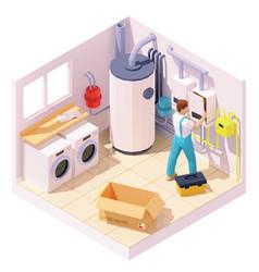 Isometric technician on water heater installation vector