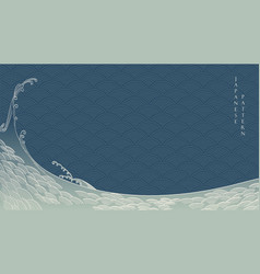 japanese background with hand drawn wave vector image