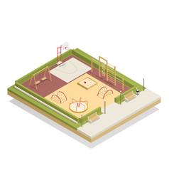Kids playground isometric mockup vector