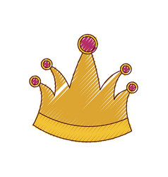 king crown in colored crayon silhouette vector image