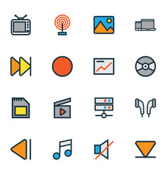 Media icons colored line set with clapperboard vector