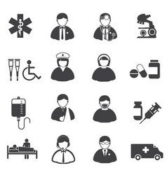 medical and er hospital icons set vector image vector image
