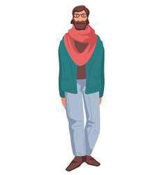 Middle aged man in glasses and scarf isolated vector