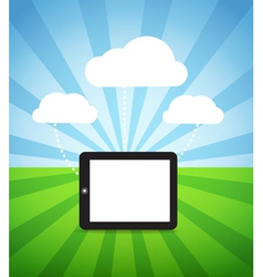 modern gadget with media clouds vector image