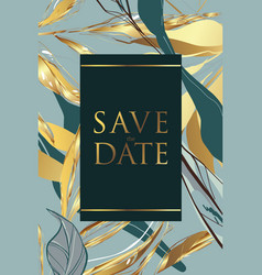 modern golden green palm texture wedding vector image