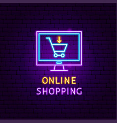 Online shopping neon label vector