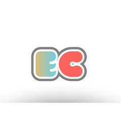 Orange pastel blue alphabet letter ec e c logo vector