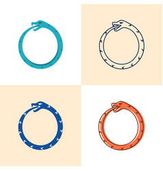 Ouroboros snake icon set in flat and line style vector