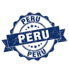 Peru round ribbon seal vector