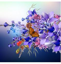 Realistic flowers blue bells vector
