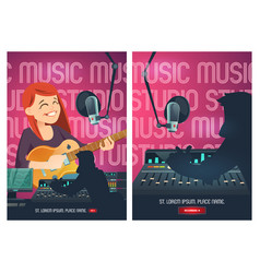 Recording studio cartoon poster with singer vector