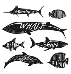 Retro vintage fish with names tattoo set vector