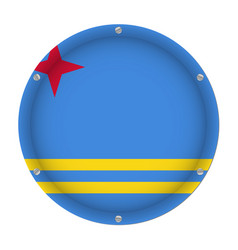 round metallic flag of aruba with screws vector image