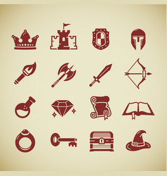 rpg role play pc game icons set vector image
