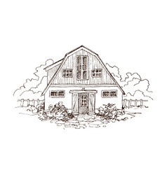 rural landscape with old farmhouse and garden vector image