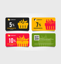 Set cards vouchers for grocery store with vector