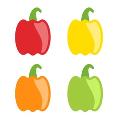 Set Colorful Bell Peppers Isolated vector