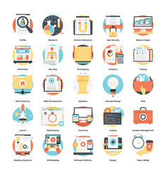 Set modern flat icons on design development vector