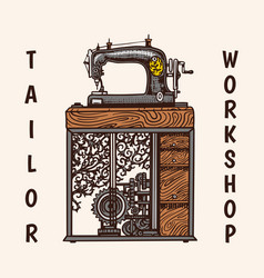 Sewing machine tailor shop badges label tool and vector