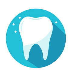 Shiny healthy tooth in blue circle dentistry vector