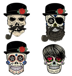Skull with beard and smoking pipe vector