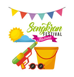 Songkran festival thailand bucket sunglasses water vector