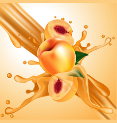 splash of peaches juice in motion vector image