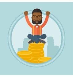 Successful financier sitting on golden coins vector