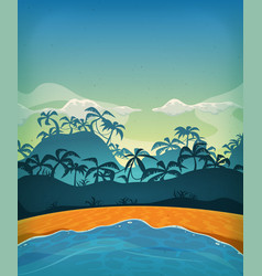 Summer tropical desert island vector