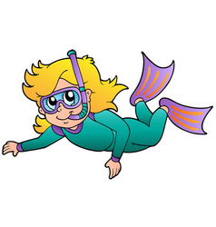 Swimming girl snorkel diver vector