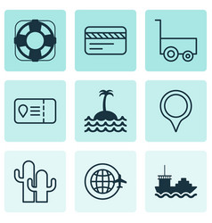 Travel icons set with pinpoint lifebuoy island vector