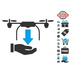 Unload Drone Hand Icon With Free Bonus vector image