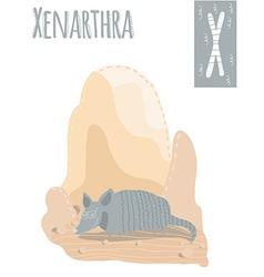vertical of xenarthra on a colorful desert vector image
