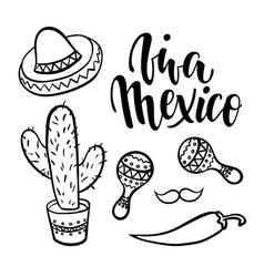 viva mexico hand drawn lettering phrase vector image