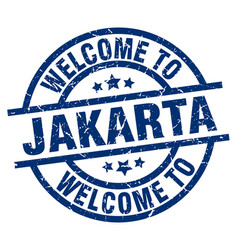 Welcome to jakarta blue stamp vector