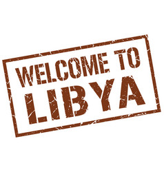 Welcome to libya stamp vector