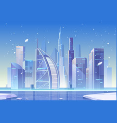 Winter city skyline at frozen bay architecture vector