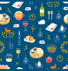 Winter dinner party pattern vector
