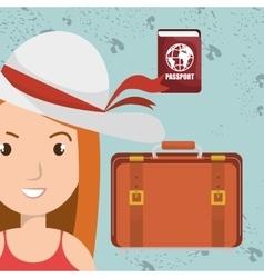 woman bag hat travel vector image