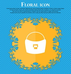 Woman hand bag icon sign Floral flat design on a vector