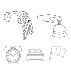 call at the reception alarm clock bed shower vector image