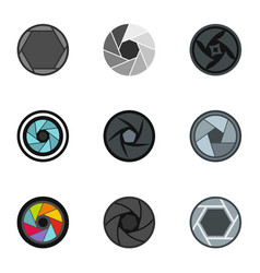 camera lens aperture icons set flat style vector image