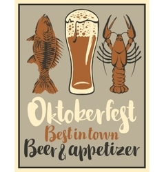 glass of beer and snack seafood vector image
