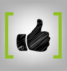 hand sign black scribble vector image
