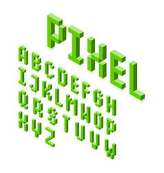 isometric 3d pixel font three-dimensional vector image vector image