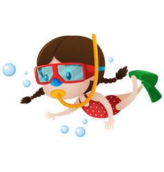 little girl diving under the sea vector image